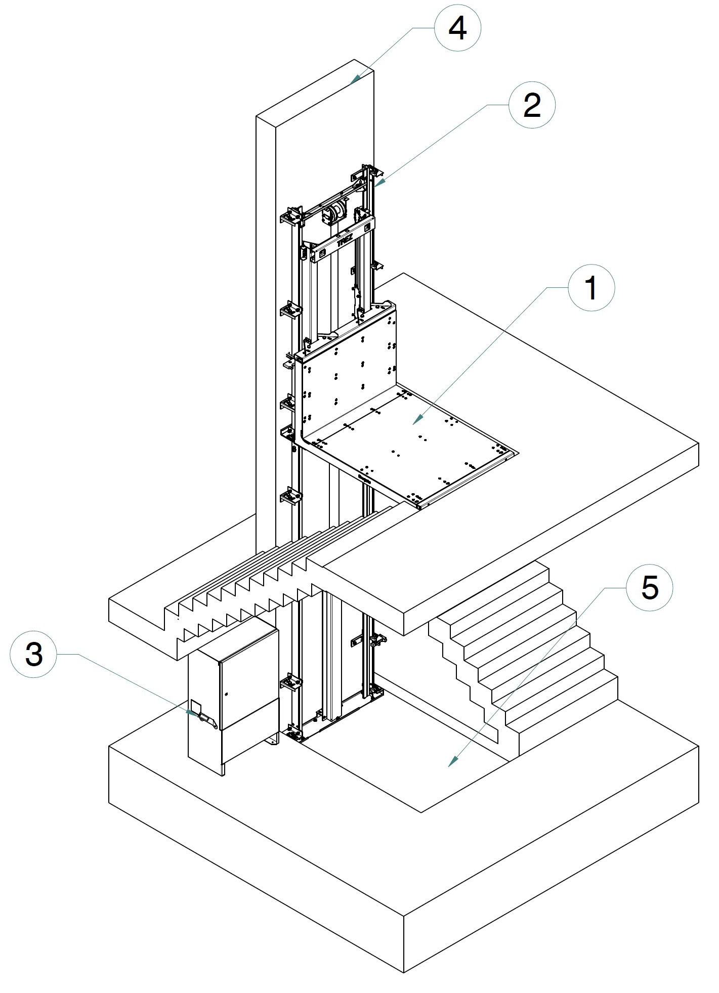 goederenlift-Hublift-tekening